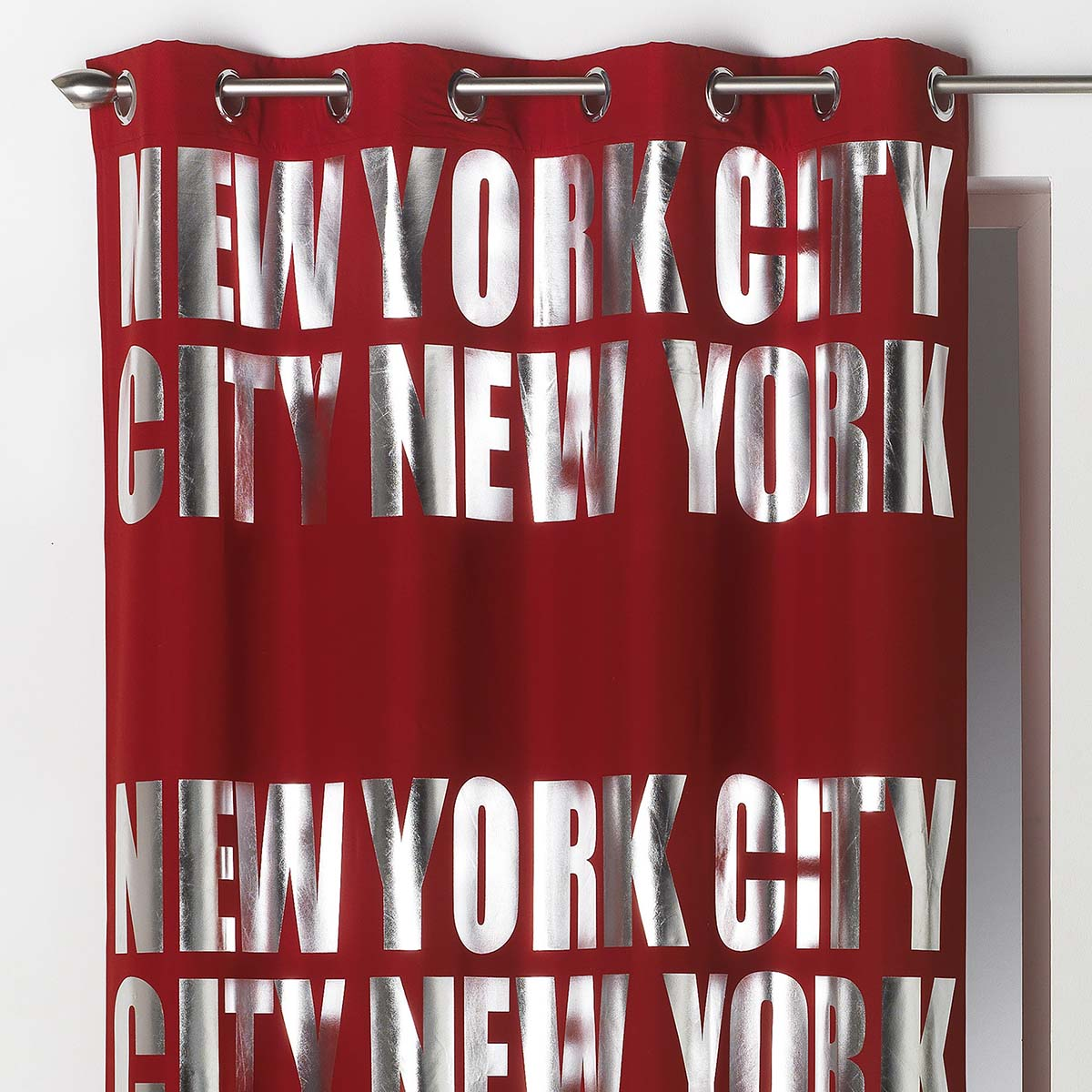 rideau occultant ny silver rouge 140x260 cm rouge gris 140 x 260 ebay. Black Bedroom Furniture Sets. Home Design Ideas