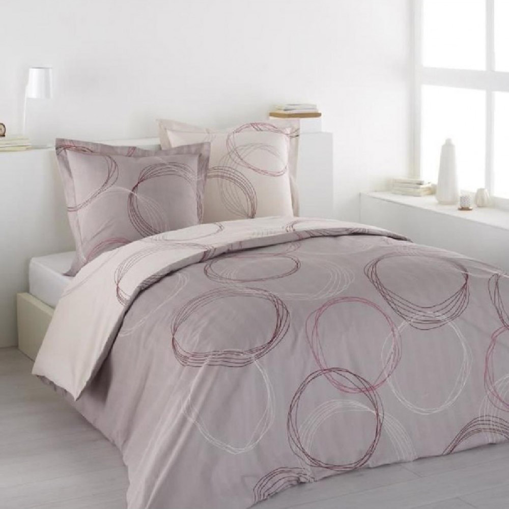 housse de couette 220x240 2 taies lenny pink 100 coton 57fils gris rose ebay. Black Bedroom Furniture Sets. Home Design Ideas
