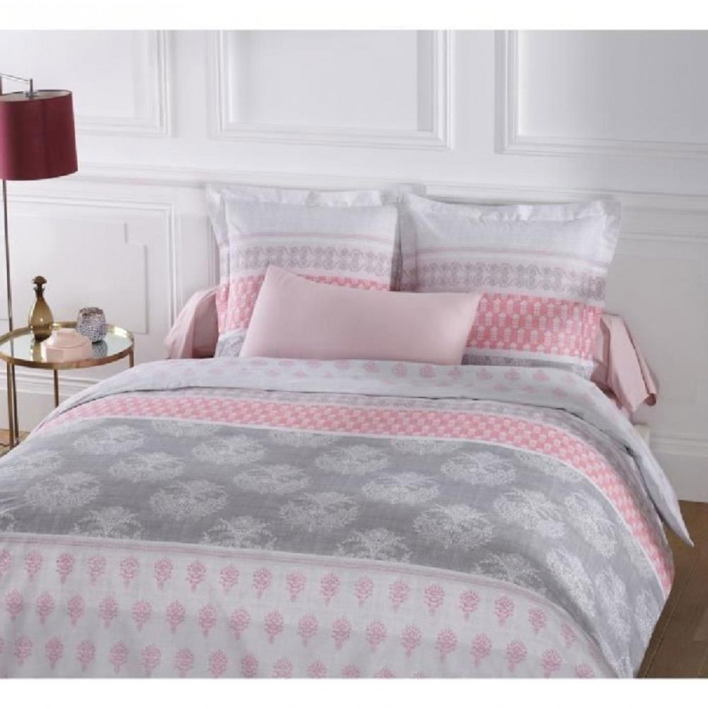 housse de couette 240x260 2 taies romane 100 coton 57fils gris rose 240x ebay. Black Bedroom Furniture Sets. Home Design Ideas