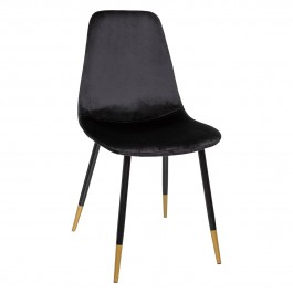 Chaise scandinave velours Tyka Gold noir