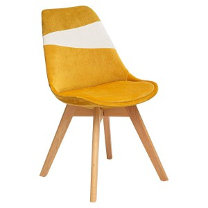 Chaise scandinave Baya patchwork ocre