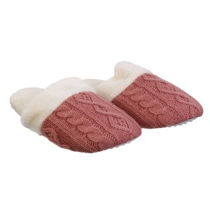 Chaussons femme tricot rose