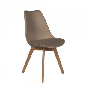 Chaise scandinave coque avec coussin taupe
