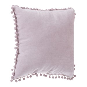 Coussin pompons 40x40 rose