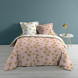 Housse de couette 240x260 + 2 taies Bloomy rose or coton 57 fils